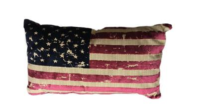 America coussin velours rouge