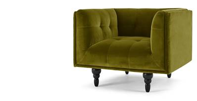Connor fauteuil velours vert olive